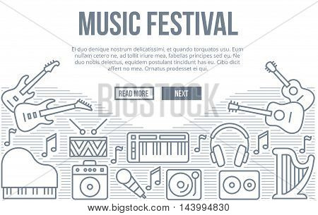 Music festival linear vector background with musical instruments line icons