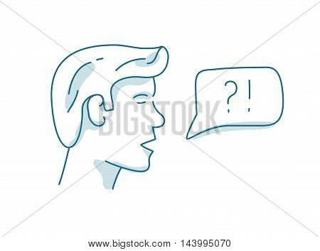 Man with dialog speech bubble, discussion, question and answer concept.