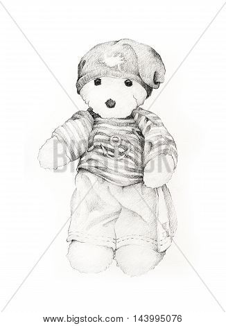 Hand Drawn of Cute Teddy Bear in Striped Sailor Shirt with Summer Pants and Knitted Hat.