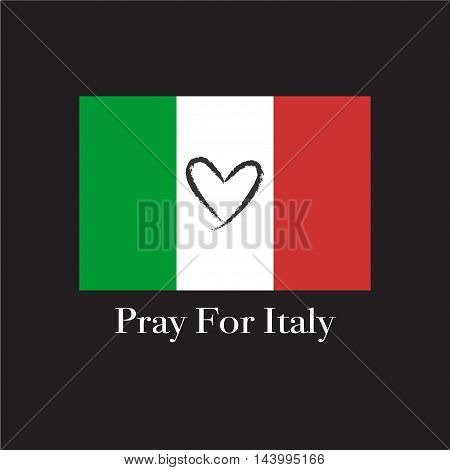 Black heart shape on flag of Italy. Background about pray for Italy earthquake. Vector illustration. EPS10