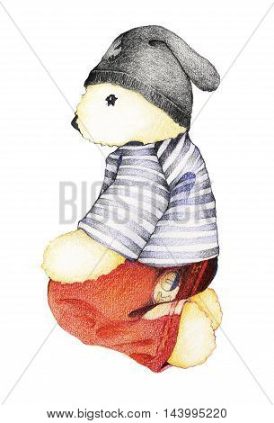 Hand Drawn Side View of Cute Teddy Bear in Striped Sailor Shirt with Red Pants and Knitted Hat Sitting Down on Floor Isolated on White Background.
