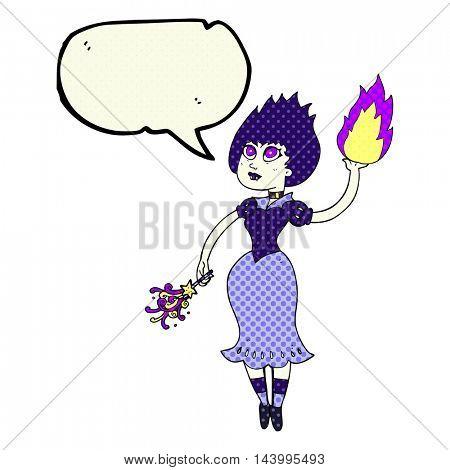 freehand drawn comic book speech bubble cartoon vampire girl casting fireball