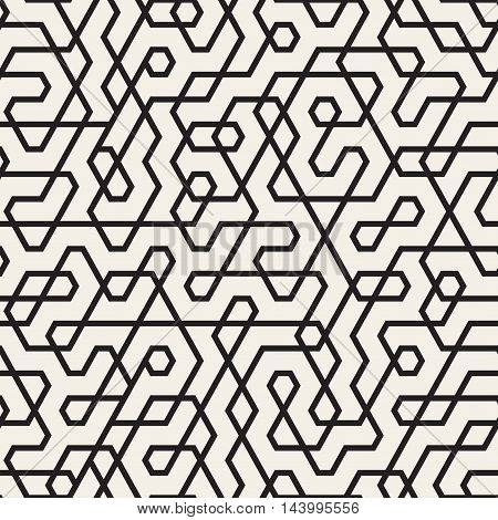 Vector Seamless Black and White Irregular Lines Pattern. Abstract Geometric Background Design