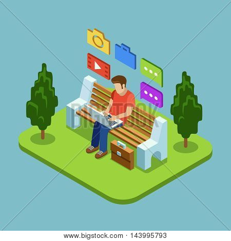 Man sitting in the park and working with laptop. Vector concept in flat style. Outdoor park internet work illustration