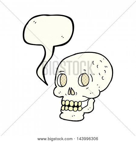 freehand drawn comic book speech bubble cartoon halloween skull