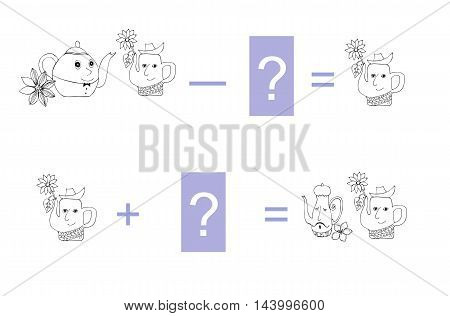 Cartoon illustration of mathematical subtraction and addition. Examples with teapot. Educational game for children. Black and white vector illustration.