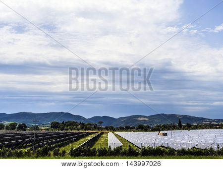 solar panels field sunny day white clouds in the sky