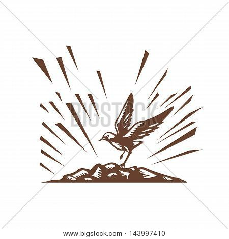 Illustration a plover bird landing on a treeless island set on isolated white background done in retro woodcut style.