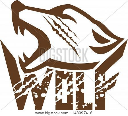 Illustration of a wolf head howling viewed from the side set on isolated white background with the text word Wolf done in retro style.