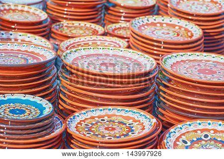 Lot of Earthenware Crockery on the Pottery Market