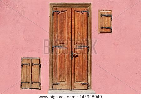 Closed Door and Windows of an Old House