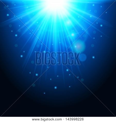 Magic background with rays of light glowing light effect. Blue lights with sparkles on a transparent background. Vector illustration.