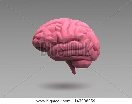 Low poly pink brain on natural 3d lighting look