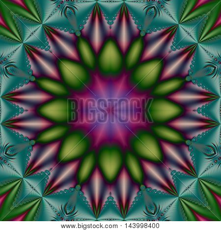 Digital fractal image in beautiful flower or star shape with green purple and blue symmetrical design with turquoise quilt effect