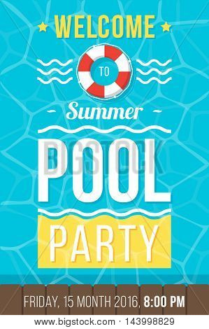 Colorful vector poster flyer or banner template for pool party. Flat style. Eps 10.