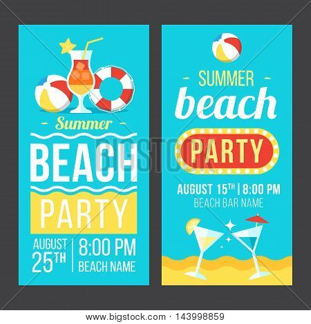 Colorful vector flyer poster or banner templates for beach party. Flat style. Eps 10.