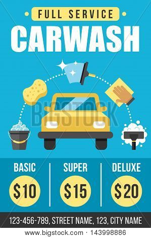 Colorful vector poster flyer or banner template for carwash services. Flat style.