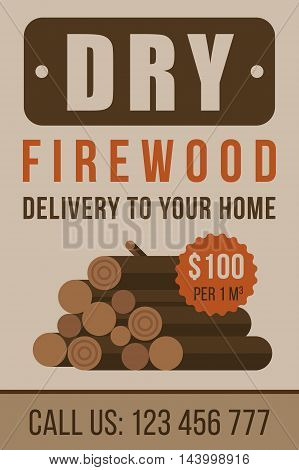 Colorful vector poster flyer or banner template for firewood delivery. Flat style.