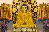 image of emei  - Golden buddha image in chinese temple Nakhon Nayok Thailand - JPG