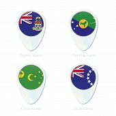 Постер, плакат: Cayman Islands Christmas Island Cocos Islands Cook Islands Flag Location Map Pin Icon