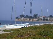 Santa Barbara Beach With Small Sailcraft