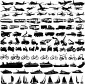 image of military helicopter  - big collection of transportation silhouettes vector illustration - JPG