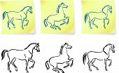 stock photo of clydesdale  - horses on post it notes original vector illustration 6 color versions included - JPG