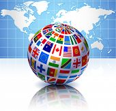 Flags Globe with World Map Original Vector Illustration EPS10 poster