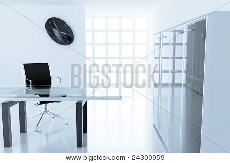 Light modern cubicle with a table and an armchair in a time off
