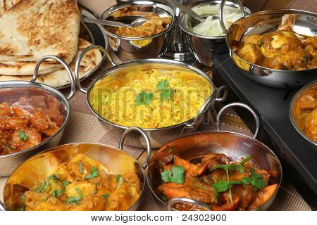 Indian curries, bread, rice and pickles