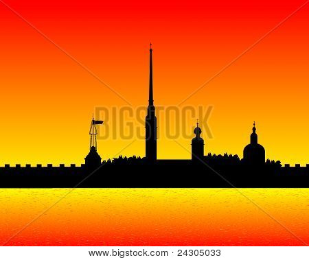 Silhouette of Peter and Paul fortress after sunset