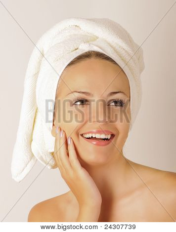 Girl with towel on her head