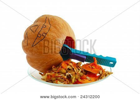 Halloween Jack O Lantern Hollowing Out The Gourd With Spoon