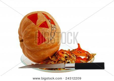 Halloween Jack O Lantern Preparation Stages Carving Pumpkin With Knife