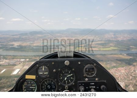 Inside View In A Glider Focus On The Cockpit