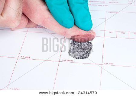 Mensch, der Finger, die gedruckt
