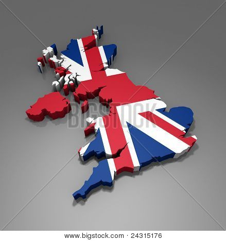 Map of UK - 3d render