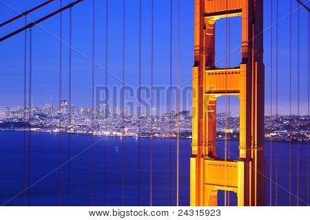 Golden Gate Bridge at night. San Francisco, USA
