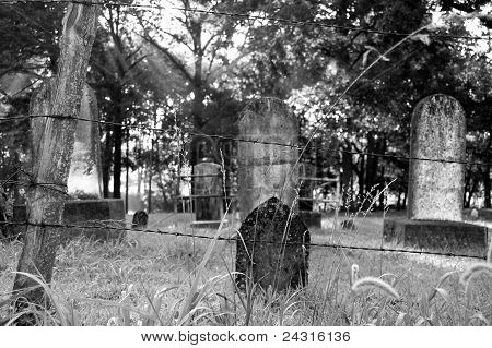 Black and White Cemetery at Sunrise