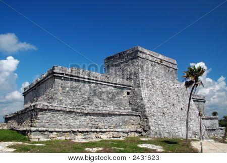 View Of Ancient Mayan Castle At Tulum