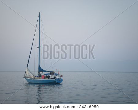 Yacht in calm Greek sea