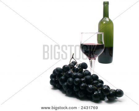 Brunch Of Grapes And Red Wine