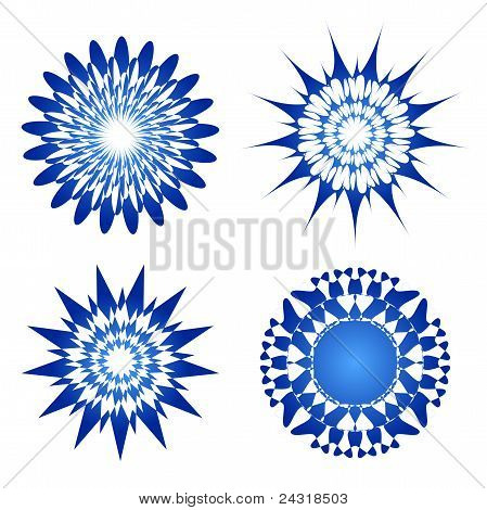 Blue vector spirograph ornament tattoo