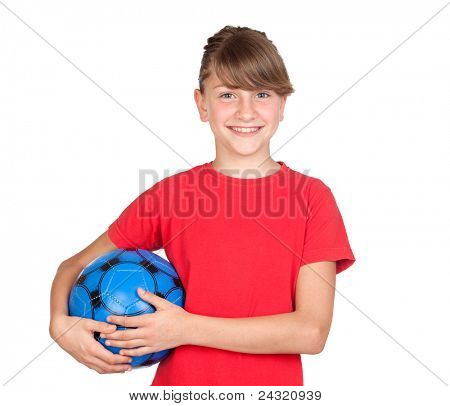 Smiling girl with blue ball isolated on white background