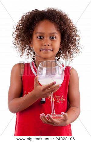 Cute Little African Asian Girl  Drinking Milk