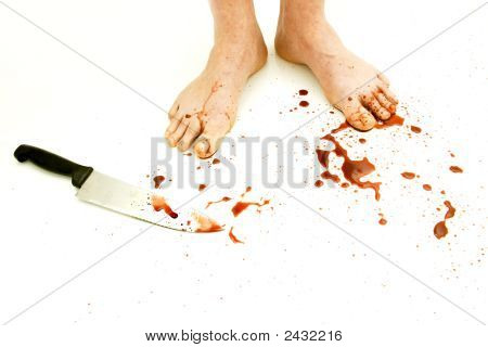 Feet Covered In Blood