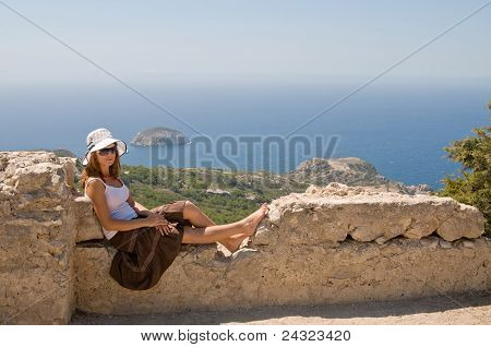 Girl on old walls
