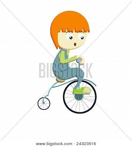 little boy riding vintage bike