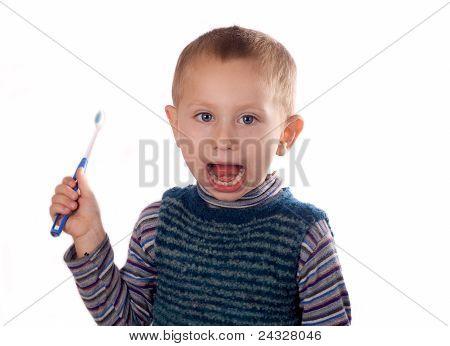 Boy Brushing His Teeth After Bath