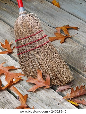 Broom And Fallen Leafs